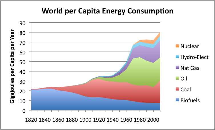 Per capita world energy by source