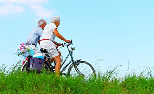 elderly biking