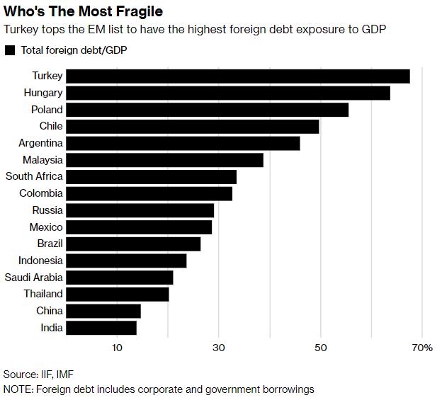 em foreign debt exposure
