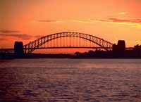 A photograph of the Sydney Harbour Bridge at sunset.