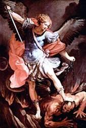 Guido Reni's archangel Michael (in the Capuchin church of Santa Maria della Concezione, Rome) tramples Satan.